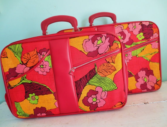 World Traveler Vintage Retro Mod Suitcases Luggage by InWithTheOld, $58.00