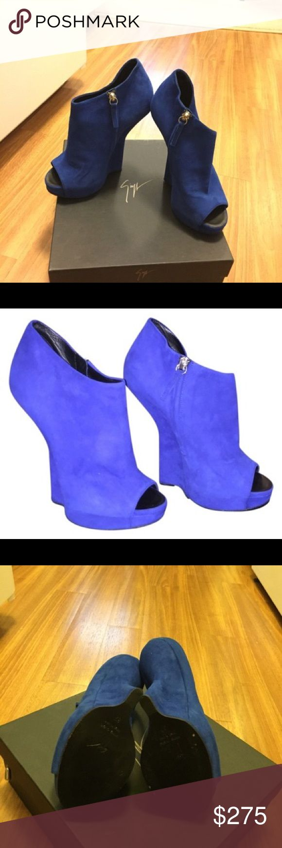 Giuseppe Zanotti Suede Sculpted Wedge Ankle Boots. Giuseppe Zanotti Blue Suede Sculpted Wedge Ankle Boots. Size 37 comes with box and dust bag. Worn once pristine condition minimal wear on bottom of shoe. no swaps Giuseppe Zanotti Shoes