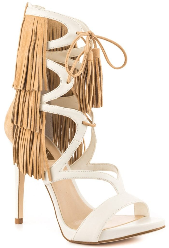 $62.99 Summer Sale: Up Your Appeal in These Funky, Fringe GUESS 'Abria'  Heels. Strappy High HeelsShoes High HeelsDesigner ShoesWoman  ShoesNaturalSuede ...
