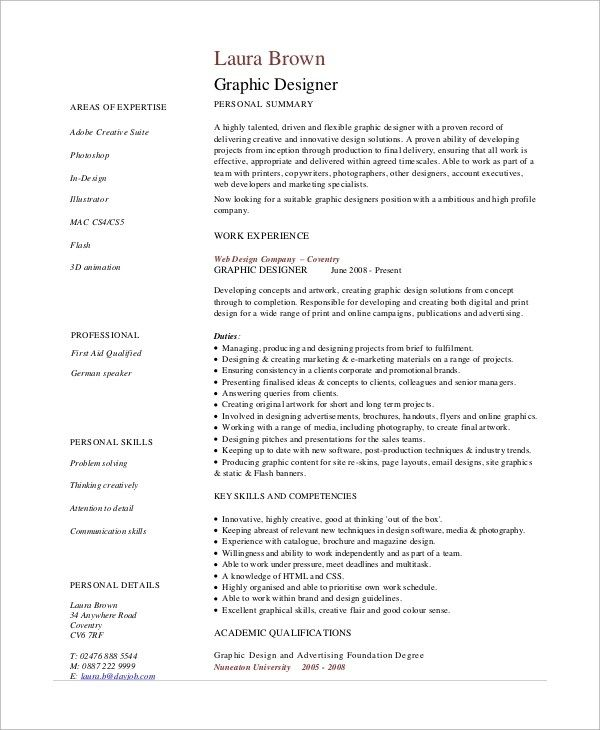 Sample Graphic Design Resume 7 Examples In Pdf Graphic Design Resume Graphic Design Cv Resume Design
