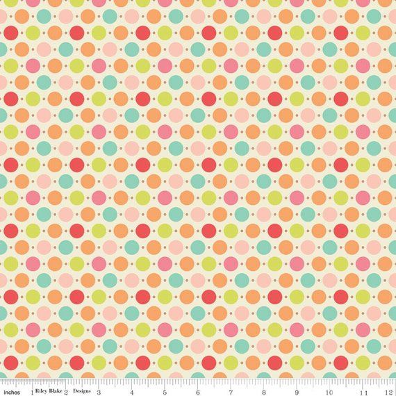 BY THE YARD BIG POLKA DOT RILEY BLAKE 100/% COTTON DUCK FABRIC Pink//White