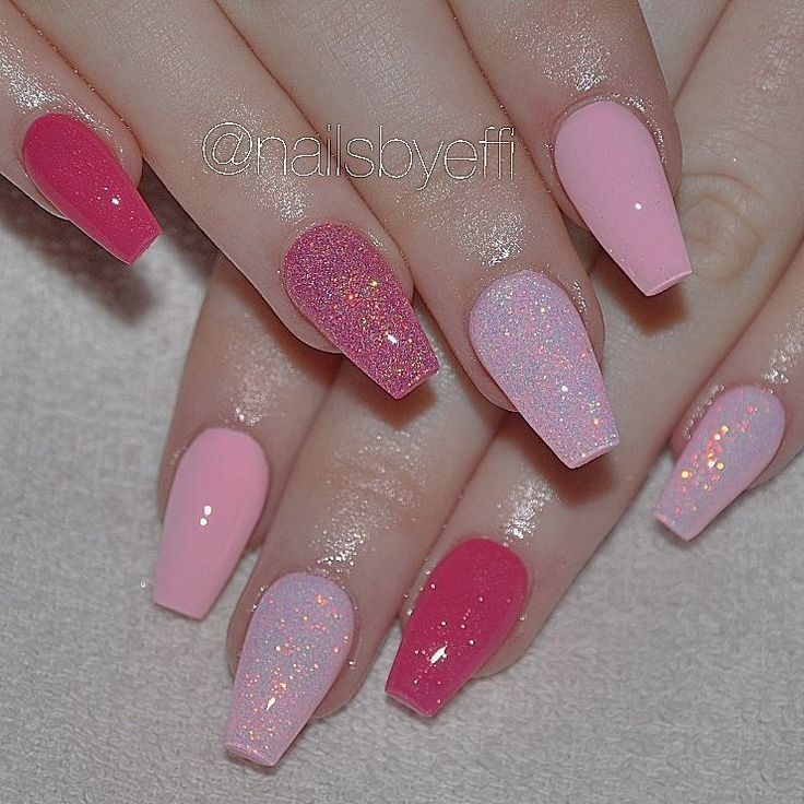 Light And Dark Pink Glitter Coffin Nails Pink Glitter Nails Short Coffin Nails Designs Light Pink Acrylic Nails