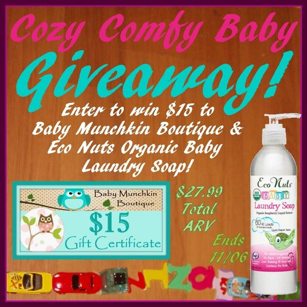 Keep your baby cozy & comfy: Enter to #win the Cozy Comfy Baby #Giveaway! Winner receives $15 to spend at Baby Munchkin Boutique and Eco Nuts Organic Baby Laundry Soap! Ends November 6 (11:59pm).  #EcoNuts #BabyMunchkinBoutique