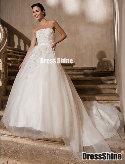 Beautiful Ball Gown Strapless Cathedral Train Lace And Tulle Wedding Dress - Wedding Dresses - Weddings