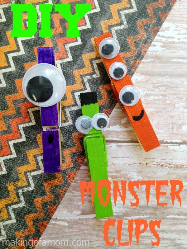 DIY Halloween Monster Clips - simple step-by-step- tutorial! Easy Halloween craft for kid.