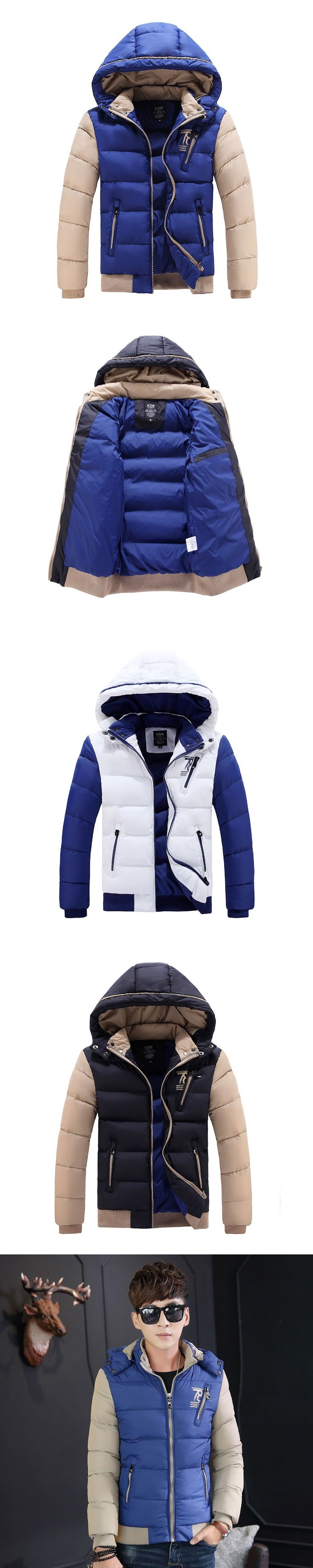 TOP  2017 Winter Cotton Padded Hooded can remove Jacket Men Parka Zipper Thick Quilted Men  Coats Chaquetas Rompevientos Hombre