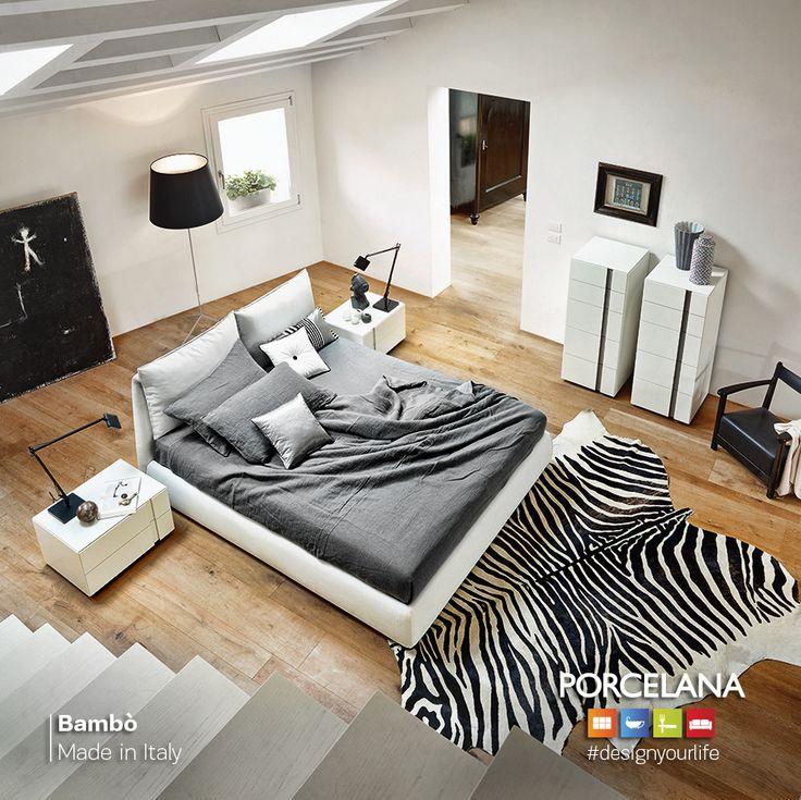 #ΒlackandWhite σκηνικό? Απόλυτα ναι, με Ultra #modern κρεβάτι «Bambò»! Ιδανικό για ατελείωτες στιγμές χαλάρωσης! #designyourlife @ Porcelana