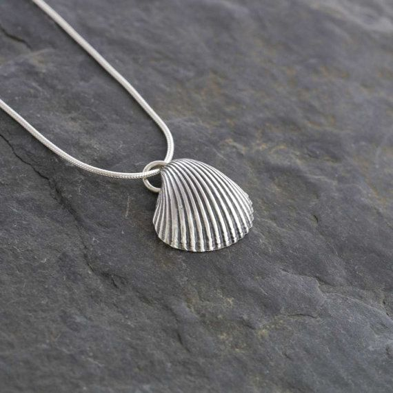 Silver Cockle Shell Pendant  Handmade by WildSilverJewellery