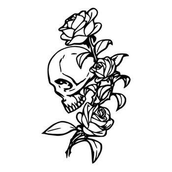 11.1*19.3 CM Romântico Rosas Do Crânio Adesivos de carro Dos Desenhos Animados Da Motocicleta Decalques de Vinil Preto/Prata C7-0957