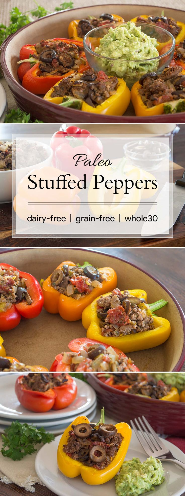 These stuffed peppers are an easy and delicious way to use up your summer produce and have an impressive dinner for your guests. Plus, they are allergen-free and Whole30-compliant. #paleo #whole30