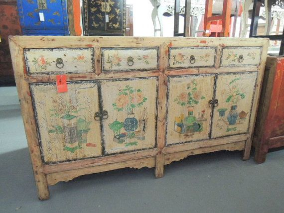 Antique Chinese Storage Credenza In Distressed Natural Finish Los Angeles  By ModernRedLA, $1700.00