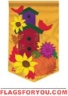 Autumn Birdhouse Applique Garden Flag