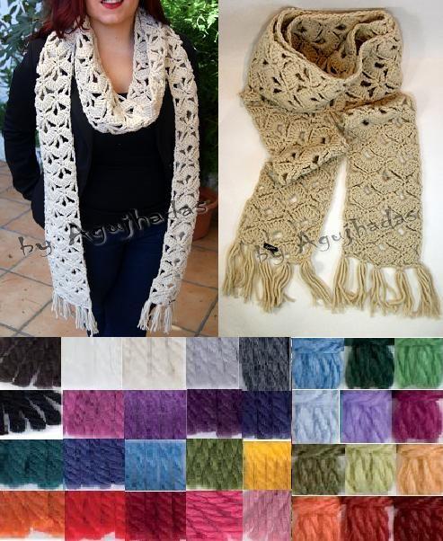 Yo no sabria que color elegir y tu? Bufanda de lana MaxiMariana, tambien se pueden hacer en colores mezclas.