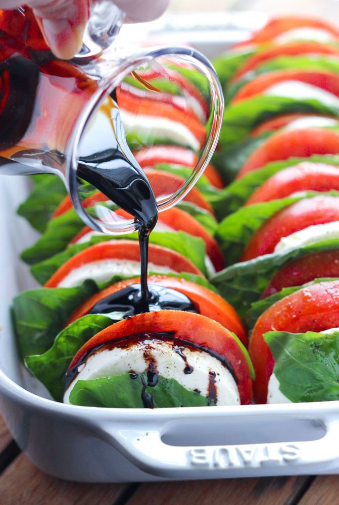 Light and easy appetizer or side dish, loaded with tomatoes, fresh mozzarella, and basil with a sweet balsamic reduction   https://www.littlebroken.com @littlebroken