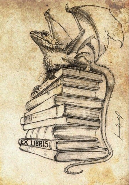 bookplate depicts dragon perched on stack of books, Ex Libris written on spine of book