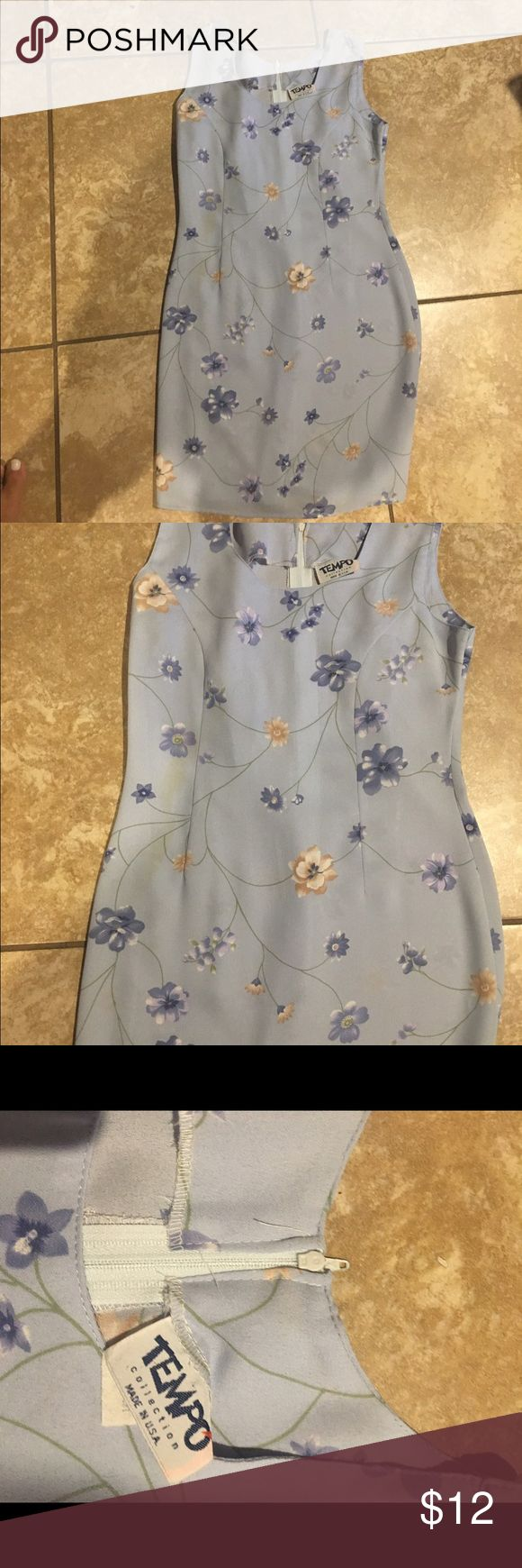 New Women's Tempo Collection  Blue Sundress size s Brand new stylish Tempo Collection light blue knee length floral print Sundress zips up in the back. Dresses Midi