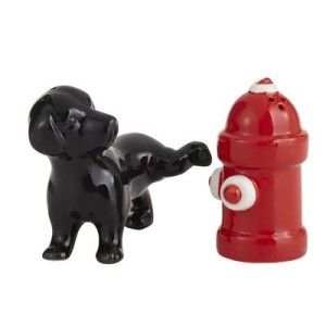 Dog & Fire Hydrant Salt & Pepper Shakers Dogs and fire hydrants a tale as old as time and yet it still makes us smile to any art depicting this. http://theceramicchefknives.com/novelty-salt-and-pepper-shakers/ Dog & Fire Hydrant Salt & Pepper Shakers