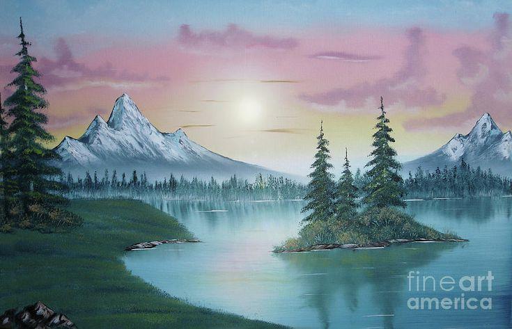 Mountain Lake Painting A La Bob Ross 1 Canvas Print / Canvas Art by Bruno…