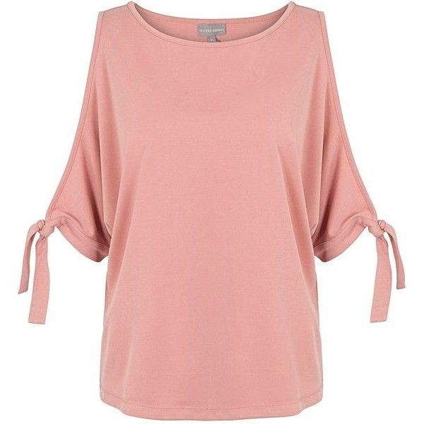 Pink Solstice Cold Shoulder Top | Oliver Bonas ($51) ❤ liked on Polyvore featuring tops, cut out shoulder top, cut-out shoulder tops, olive green top, olive top and army green top