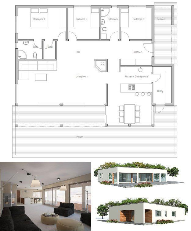 Modern small home plan with logical structure and simple shapes. Three bedrooms. Covered terrace to enjoy outside living. Affordable building price. Floor Plan from ConceptHome.com