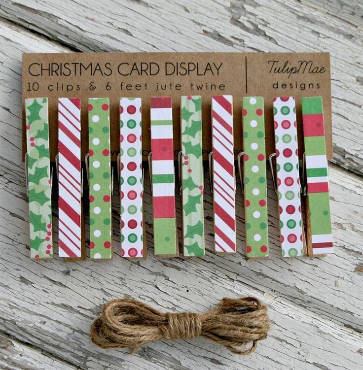 christmas craft fair items   Christmas Card Clothespin Display   Jane
