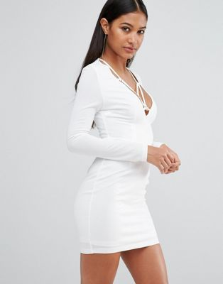 Club L Plunge Bodycon Dress With Harness Detail