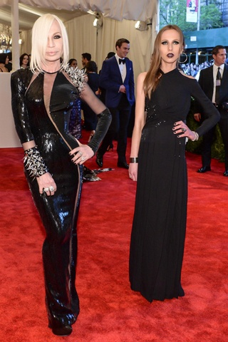 The 2013 Met Gala Red Carpet Donatella Versace and Allegra Versace, both in Versace