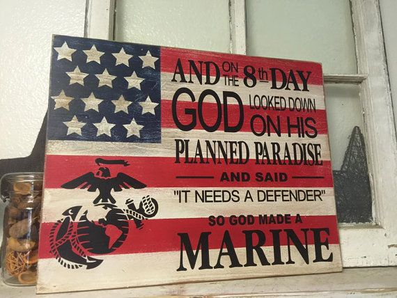 Marine Corps Flag Marine Defender by iSTICKerTHAT on Etsy