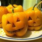 Stuffed Jack-O-Lantern Bell Peppers I'm so doing this I can't cook sodma so i will put rice o roni lmao