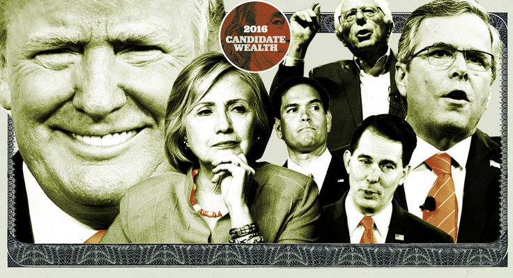 Nearly every candidate in the overstuffed field of candidates is well off, but for six of them money has played a particularly significant role in their lives and in their campaigns.  Read more: http://www.politico.com/story/2015/09/donald-trump-candidate-wealth-2016-213362#ixzz40d5bJ9oU  POLITICO Illustration/Getty and AP Images