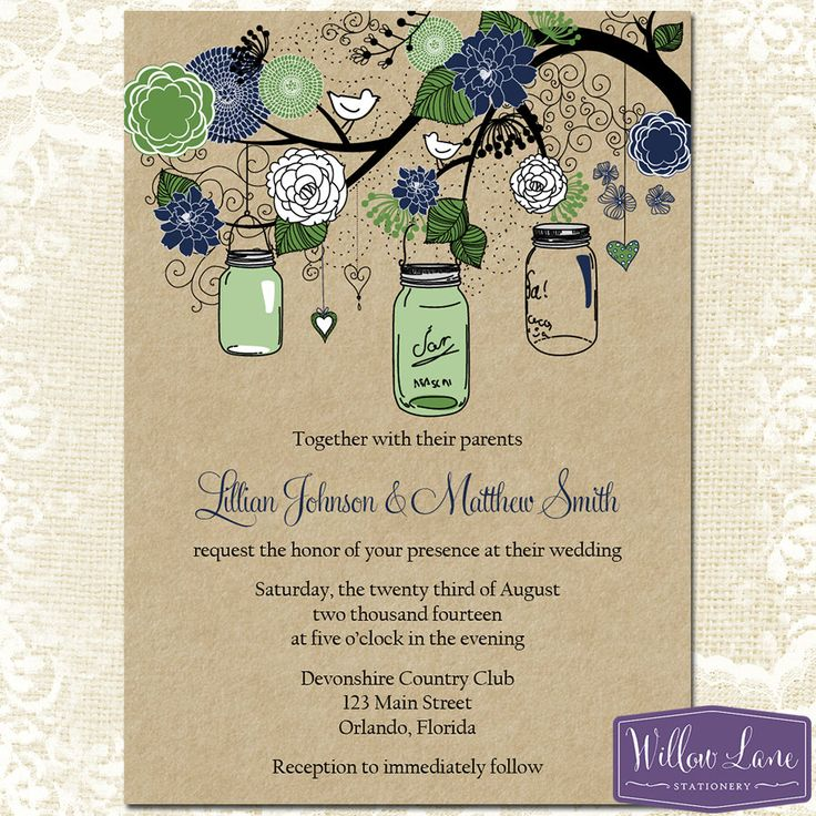wedding invitation online purchase%0A Mason Jar Wedding Invitation Green and by WillowLaneStationery