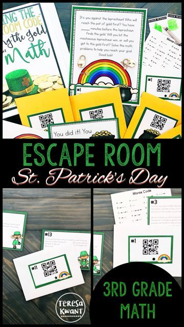 Need a fun escape room for St. Patrick's Day? Look no further! This third grade math game focusing on time and measurement, is sure to engage even your most reluctant learners. Escape rooms are great for team-building, critical thinking, and reviewing skills. This math activity is a fun additions to your classroom escape rooms collection.