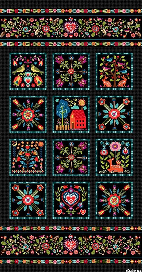 "Pieceful Gathering - Scandinavian Welcome - 24"" x 44"" PANEL - Quilt Fabrics from www.eQuilter.com"