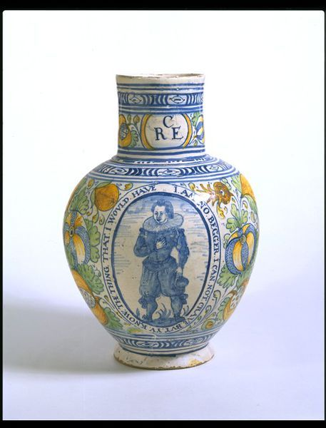 Jug      Place of origin:      Southwark, England (probably, made)     Date:      ca. 1620 (made)     Artist/Maker:      Unknown (production)     Materials and Techniques:      Tin-glazed earthenware, painted     Museum number:      C.5-1974     Gallery location:      British Galleries, room 58c, case 5