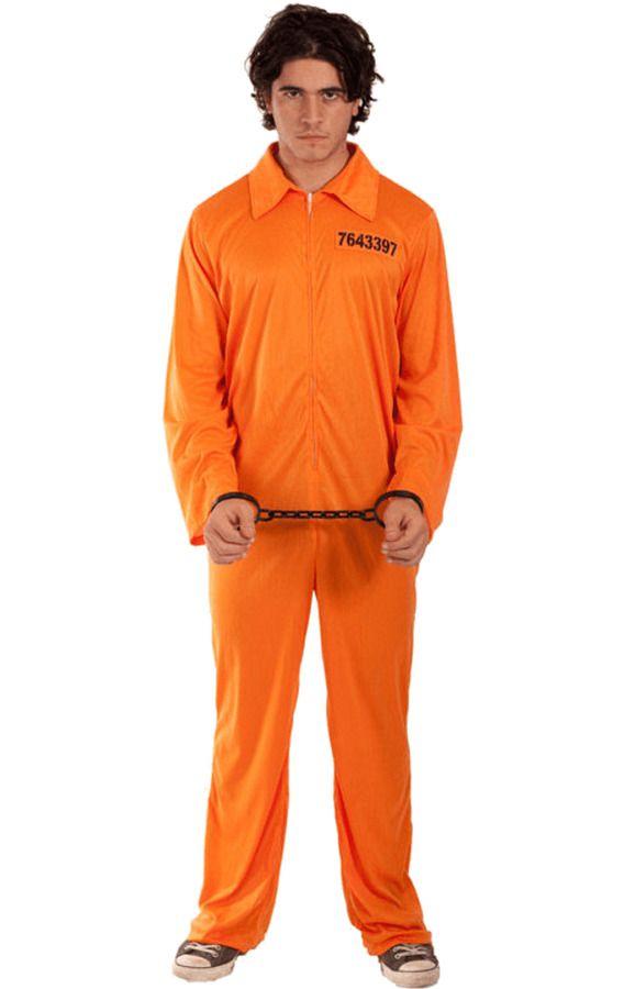 Mens Convict Orange Jumpsuit Prisoner Outfit Halloween ...