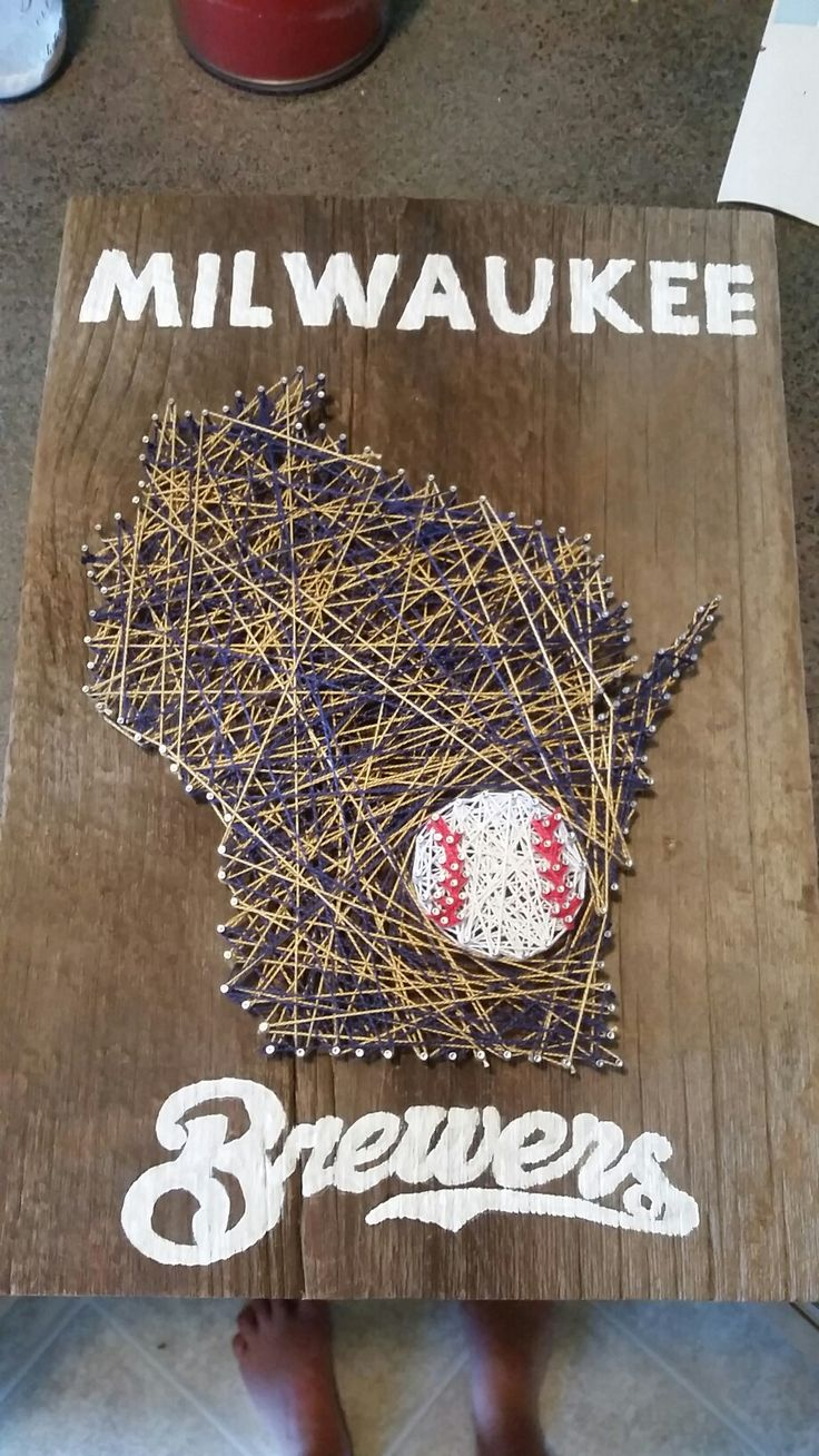 Milwaukee Brewers antique barn board nail and string project. #nailart #diy #wisconsin #milwaukee #baseball #art #craft #proud #acrylic