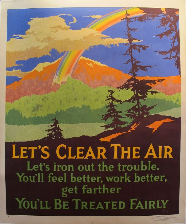 1929 Original Motivational Poster, Let's Clear the Air, Mather Work Incentive. While these original vintage posters can be seen as workplace propaganda or camp Americana, they are perhaps most interestingly viewed as a visual expression of the idealism and optimism of the rising nation.