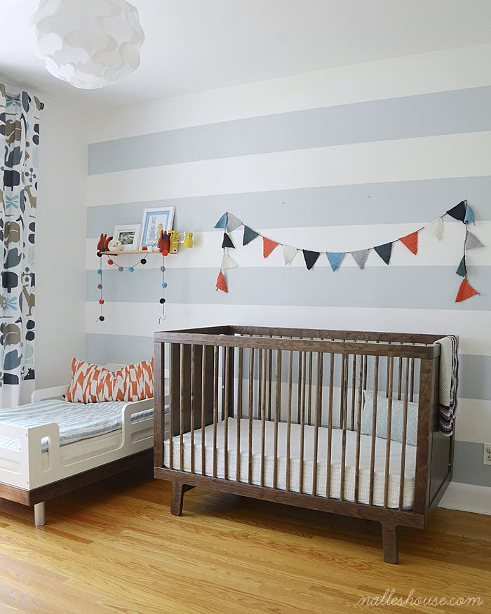 The colors work so well! BM palladian blue HC-144 is our paint color and cute baby boy banner.