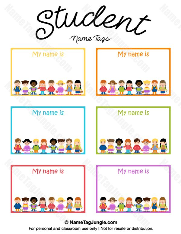 Free printable student name tags the template can also be for Room labels
