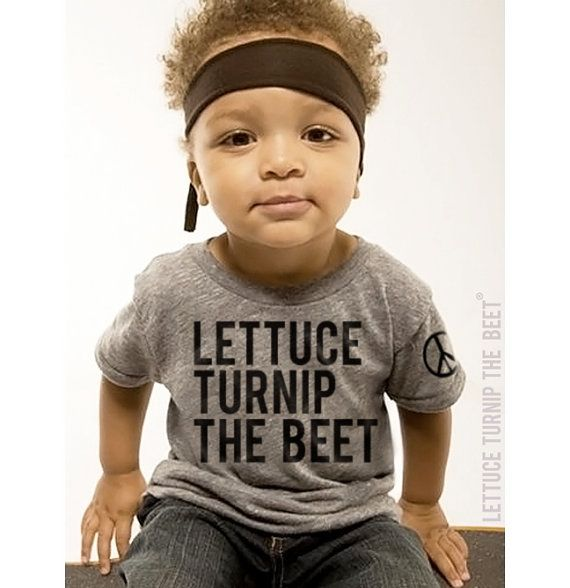 lettuce turnip the beet  heather grey track shirt  baby by coup, $24.00