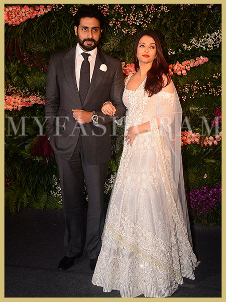 Abhishek Bachchan Aishwarya Rai In White Cold Shoulder Manish