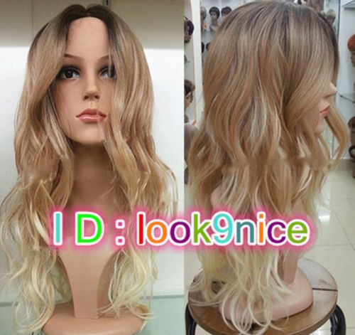 2015-Ladies-Front-lace-Wigs-Curly-Long-Wavy-hair-brown-Golden-Blonde-mixed-wig