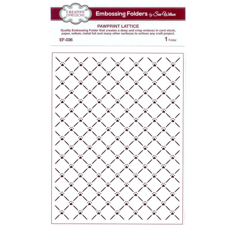 Sue Wilson EF-036 Embossing Folder - Pawprint Lattice #CreativeExpressions