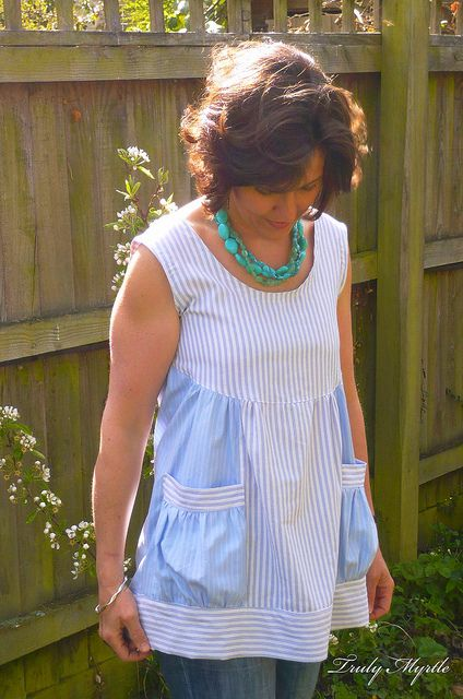 Boyfriend top by Truly Myrtle. Cool use for used men's shirts.