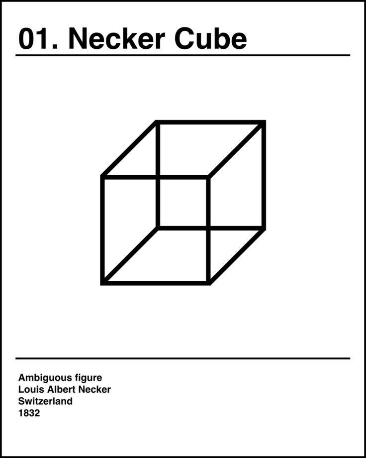Necker cube optical illusion art print poster 8x10
