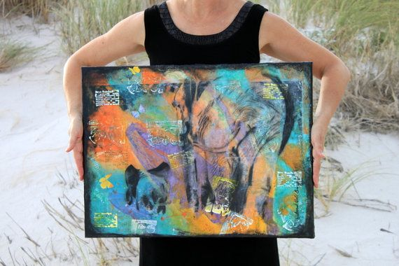 Mixed media mom elephant and baby, African animals original photo transfer collage, bright colors, orange, turquoise, purple, abstract,