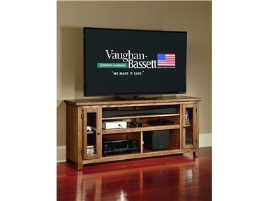 """Shop for Vaughan-Bassett 66"""" Sound Bar Media Center, 50-658, and other Home Entertainment Entertainment Centers at Woodley's Furniture in Colorado Springs, Fort Collins, Longmont, Lakewood, Centennial, Northglenn. Accommodates up to a 70"""" TV. Accommodates up to a 40"""" Sound Bar. 1 Adj. Top Shelf. 2 tempered glass doors, 3 shelves."""