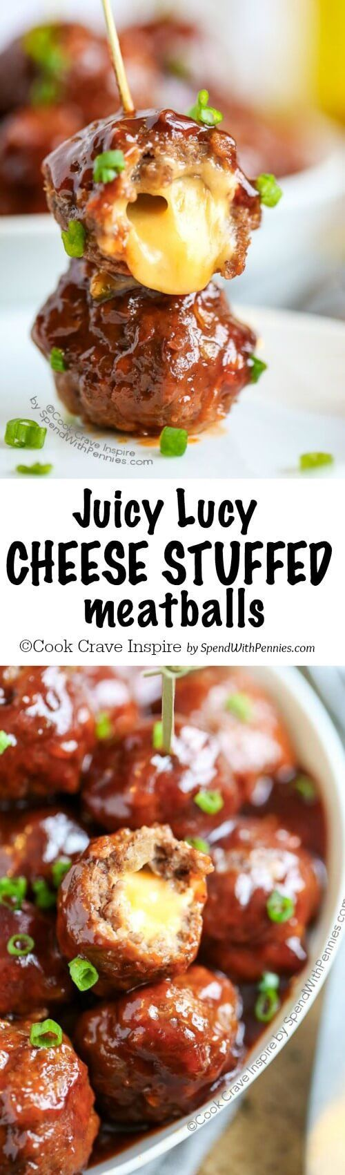 Juicy Lucy meatballs! These are of of my favorite game day appetizers! Gooey cheese is stuffed inside a tender beef meatball and bathed in a spicy sweet sauce!