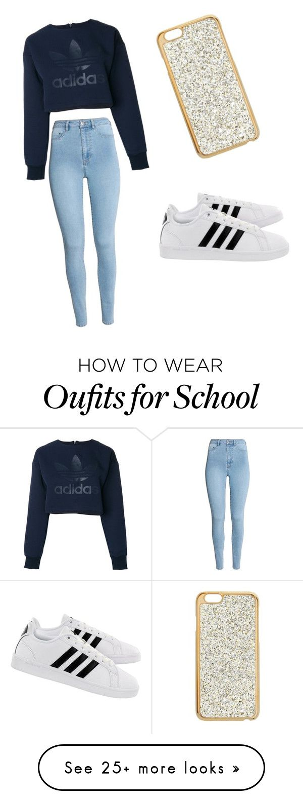 """Voor op school en in het weekend"" by manonke on Polyvore featuring Miss Selfridge and adidas"