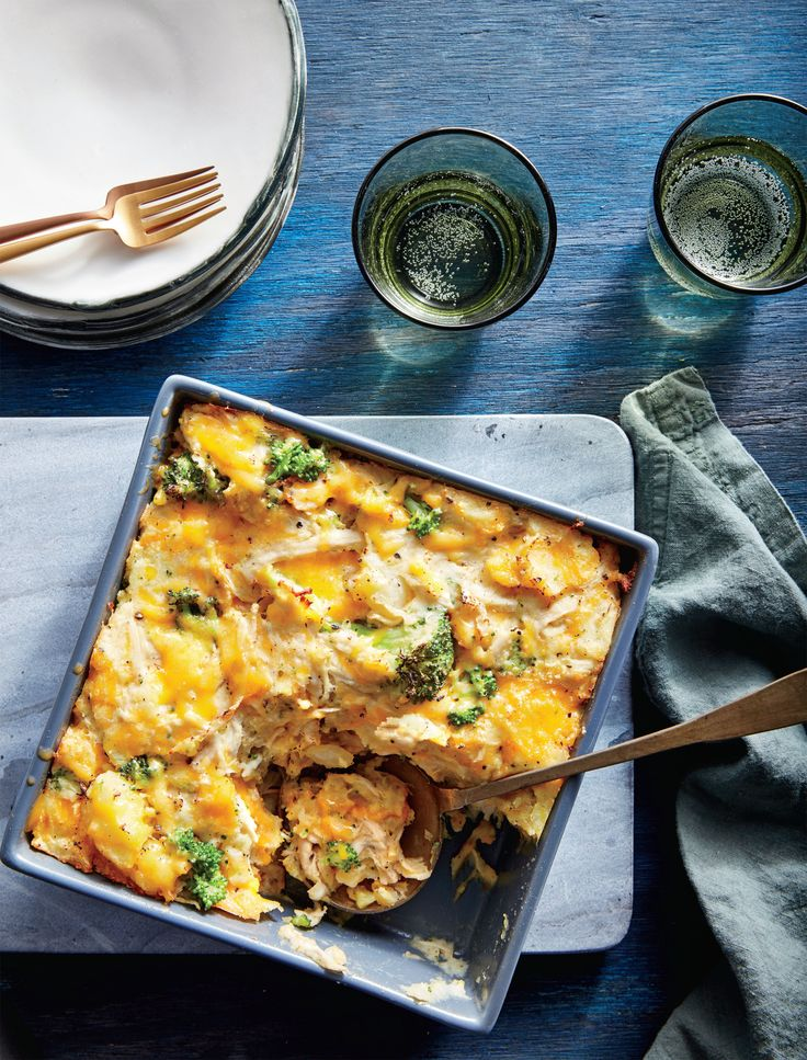 In this cheesy chicken casserole, leftover mashed potatoes form the base, rather than the topping, as they do in shepherd's pie. Poaching bone-in chicken breasts in stock yields tender, juicy meat—use this method for enchiladas and chicken salad. Instead of draining and discarding the stock after poaching, return the liquid to the pan, and bring to a boil. Reduce heat and simmer until reduced to about 3 cups for a rich sauce or soup base. We love the texture and concentrated flavor of dried…